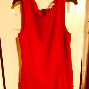 Loft sleeveless orange shift midi dress